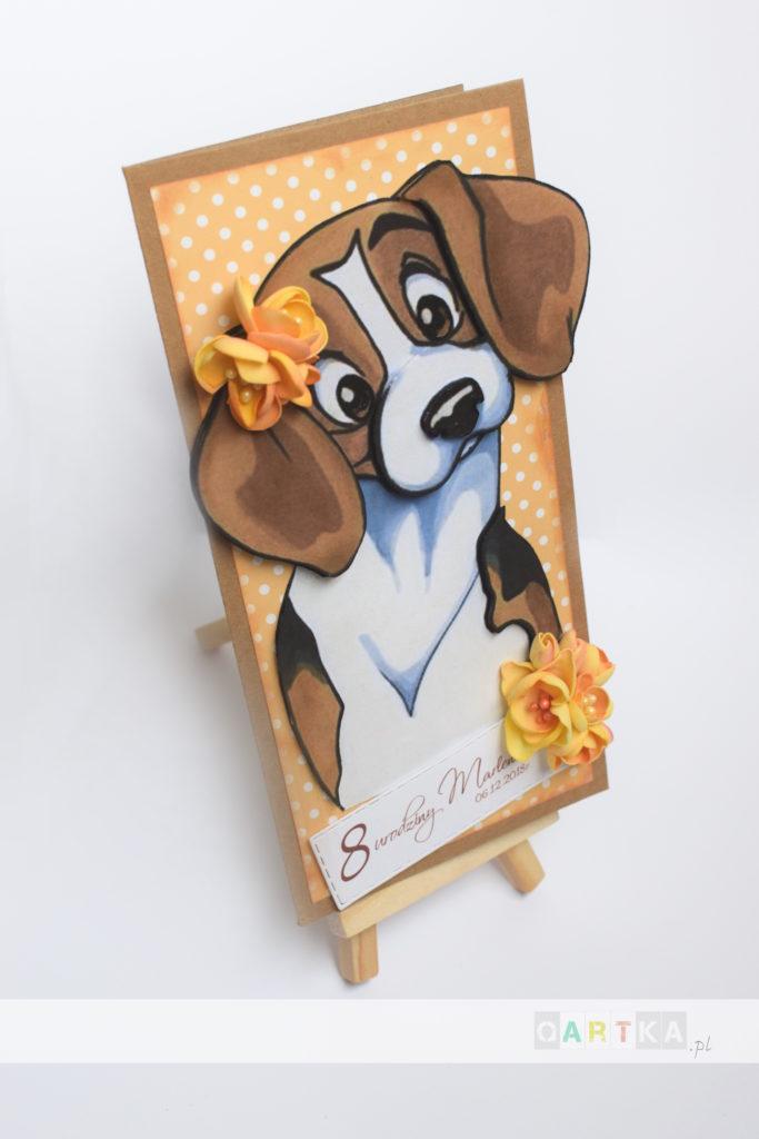 kasrtka urodzinowa z beaglem